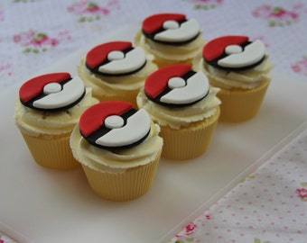 Fondant pokemon cupcake toppers. Pokeball - Pokemon Go Pokemon party. Birthday party, birthday cake