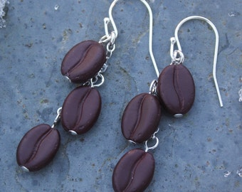 Triple shot espresso earrings - realistic glass coffee beans beads on sterling silver ear wires -Free Shipping USA