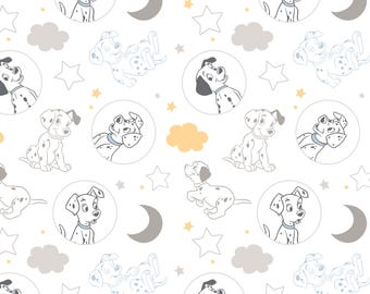 Time for Bed in White - 101 Dalmatians by Camelot Design Studio from Camelot Fabrics - Disney Fabrics - 101 Dalmatians Fabrics
