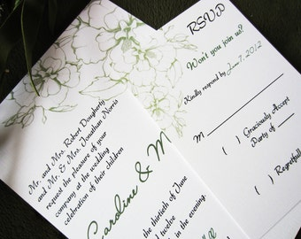 Caroline Floral Moss Green Wedding Invitation SAMPLE,  Garden Wedding, Outdoor Wedding, Spring Wedding, Floral Wedding, Vintage Wedding