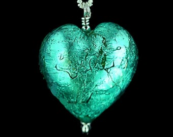 Verde Green Venetian Murano Glass Sterling Silver Heart Necklace - Julie. Free Gift Wrapping