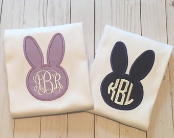Set of 2 Brother and sister matching Easter outfit,Bunny monogram Shirt, girls easter shirt, monogram easter shirt, embroidered