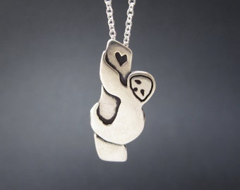 Sterling Tree Sloth Necklace - Silver Sloth Pendant - Valentine Necklace