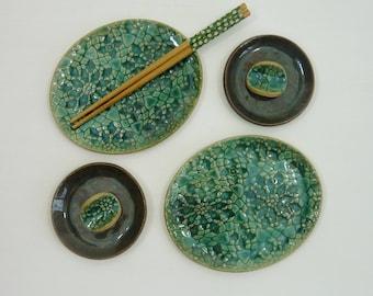 sushi serving plates, sushi set for 2 turquoise ceramic, sushi plates, sushi gift set