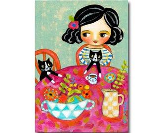 Happy Caturday! Tuxedo Cat tea time original painting Cat folk art painting cute floral cat art by Tascha
