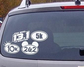 """6"""" Marathon 5k, 10k, 13.1, 26.2 Oval Die Cut Vinyl Decal Sticker"""