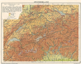 Switzerland Italy & the Alps 1930s travel Geneva for home decor Vintage Prints old maps Zurich