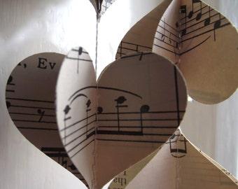 Vintage Music, 3D Paper Mobile, Hearts Mobile, Wedding Decor, Music Mobile, Paper Decoration, Wedding Decoration, Music Garland, 3D Hearts,