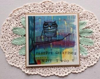 owl card, owl christmas card, festive fun, owl art, colourful card, greeting card, owl illustration, festive fun, square card