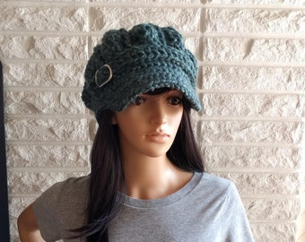 Women's newsboy cap, women's blue pageboy hat, hat with brim, women's accessories, gifts for her, fall, winter and spring fashion