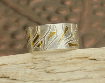 Keum Boo Ring, Sterling Silver 24KT Gold Band, Swirl Pattern, Custom Made Sterling Silver Ring