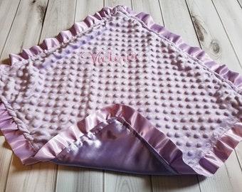 Girl Baby Lavender Minky and Satin Ruffle Security Blanket Lovie Lovey 20 x 20