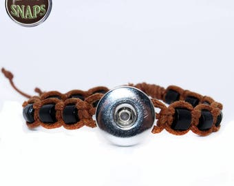 Shamballa bracelet with wood beads for 18 / 20mm snap button, Chunk, charm, ginger snap, Noosa Style, SNAPS. Lot 1,2,5.