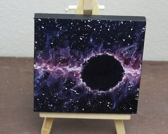 """Original Mini Painting - (4x4"""") Space Oil Painting on Easel"""