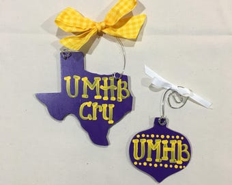Purple and Gold Christmas Ornaments - ready to ship