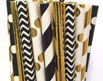 2.85 US Shipping -New Years Eve Paper Straws -  Gold Straws- Cake Pop Sticks - Drinking Straws- New Years Eve Party - New Years
