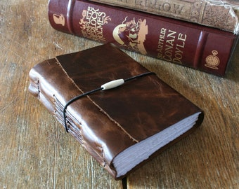 """Leather Journal . """"Go confidently in the direction of your dreams..."""" - Thoreau . distressed dark rustic moss (320 pgs)"""