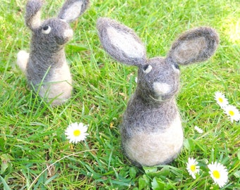 Wool Hare soft sculpture hand felted bunny woodland animal art ornament for home decor gift for animal lovers wet felted and needle felted