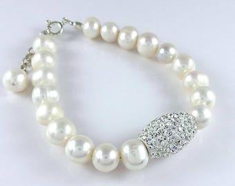 925 Sterling Silver Freshwater Pearls Crystal Bracelet