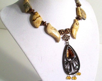 Picture Jasper, Bronze Pendant, Picture Jasper Gemstone Necklace Set, Earth Tones Jewelry, Classic Jewelry, 2 Piece Set