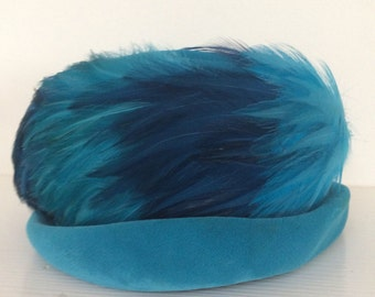 Wesco Turquoise Blue Velvet and Feather Vintage Hat
