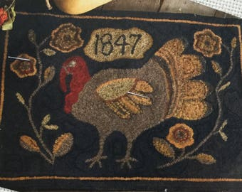 Primitive Gobbler, Rug Hooking Pattern