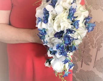 Orchid and rose bouquet,Artificial teardrop bouquet white roses hydrangeas and trailing blue orchids,Blue and white cascade bridal bouquet