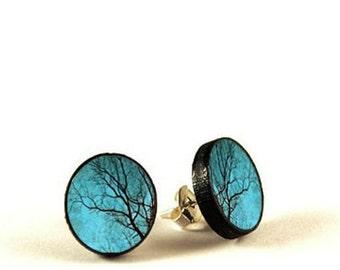 Tree Earrings - handmade stud earrings - decoupage