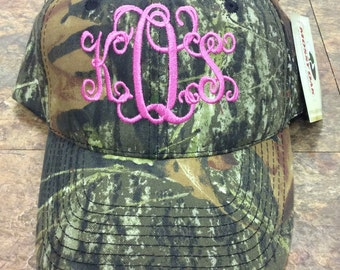 Ladies Personalized Monogrammed Camo Mossy Oak Hat with 3 initials.  Makes a great gift!
