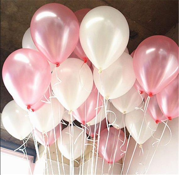 60pcs 10 Pink and White Pearl Latex Balloons for Girl