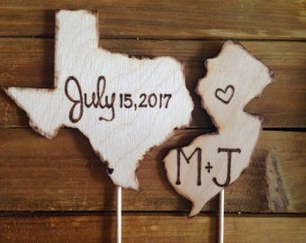 YOUR States Wedding Cake Toppers - Personalized with Carved Initials and your Wedding Date Texas Illinois Kansas California NY