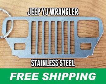 YJ Wrangler Stainless Steel Grill Keychain, Jeep Keychain