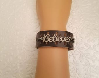 Mother's  Day,  Brown Leather Believe Cuff, Bracelet,  Inspirational,  Biblical