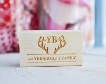 Personalized Rubber Stamp - Antlers Stamp - Customized - Family Name Stamp