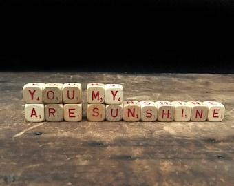 You Are My Sunshine Sign, Vintage Letter Blocks, Scrabble Blocks, Rustic Decor, Scrabble Cubes, Letter Tiles,Shabby Chic Decor