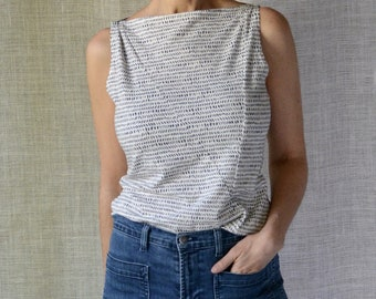 Dash Print Sleeveless Top, Tank Top, Modern Minimal, Cotton Jersey- Made to Order