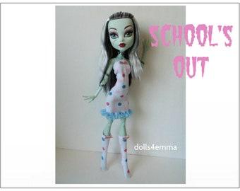 "SALE = OOAK Monster High 17"" Doll Clothes - Dress and Socks - Handmade custom fashion by dolls4emma"