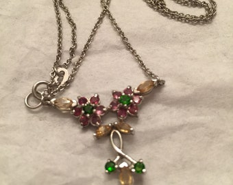 Silver 925 Natural Peridot / Amethyst  and  Citrine  Necklace 18.5 inch  New (Other)