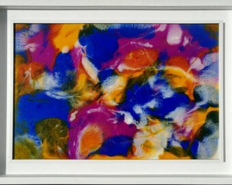 Original resin abstract in vibrant blues, deep pink, orange and white 'Black Opal' ...... By Lynda Colley Originals