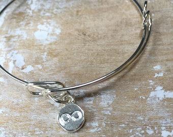 infinity adjustable silver bracelet, Silver Infinity Charm Bracelet, Silver Infinity Bracelet, Infinity Love Knot, Love forever bracelet