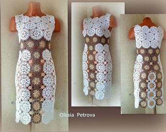 White Lace dress Woman crochet Wedding Dress statement Bridal gown elegant Alternative wedding Occasion Bohemian Bodycon Custom-made dress