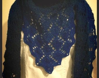 Hand Knitted V Shaped Lace Shawl