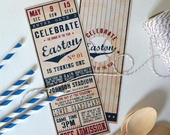 Digital File - Vintage Baseball Ticket Invitation