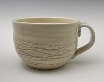 Creamy Lines White Latte Mug, Creamy Latte Mug, White Coffee Cup, White Pottery Coffee Cup, Large Teacup Coffee Mug, Creamy Pottery Mug