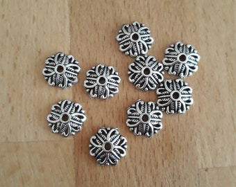 5 Silver bead caps 10mm