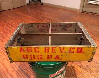 Vintage Triple Cola ABC Bev Co Reading Pa Wood Bottle Crate . Vintage bottle crate . Vintage wooden crate . Vintage soda crate