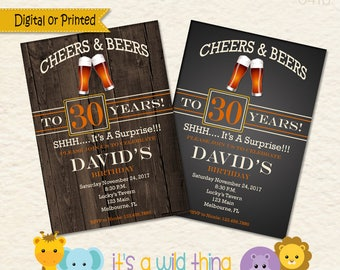 Cheers to 30 Years, Cheers and Beers,  30th Birthday Invitation, Surprise Party Invitation, Beer Invitation, Surprise 30th Birthday Invite
