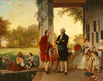 George Washington and Marquis De Lafayette at Mount Vernon, 1784. Fine Art Print/Poster (5146)
