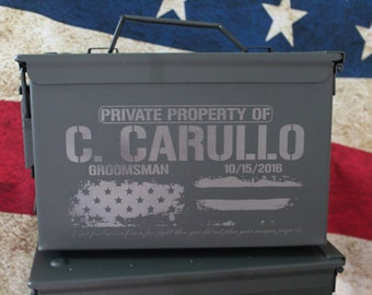 Brother Gift for man, personalized ammo can, ammo box, Hunting Gift Box, Deer antlers wedding bridal party gift - engraved