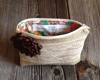 Personalized Clutch - Custom Wedding Bag - Personalized Gift for Her - Rustic Wedding Purse - Burlap and Lace Clutch - Maid of Honor Gift
